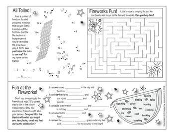 Fourth of July Two-Page Activity Set and Crossword Puzzle