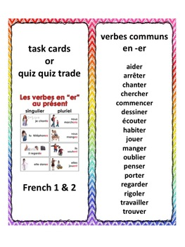 Bundle, French -er, -ir, -re verbs, task cards, quiz quiz trade in ...