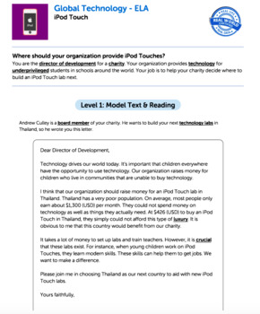 Bundle G4 Opinion Reading & Writing - Global Technology Performance Task