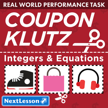 Bundle G7 Integers & Equations - Coupon Klutz Performance Task