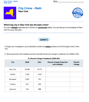 Bundle G9-11 Proportions and Equations - City Crime Performance Task