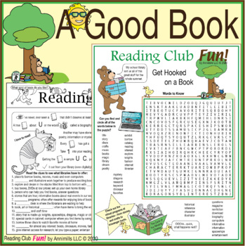 Bundle: Get Hooked on a Book Two-Page Activity Set and Reading Log & Certificate