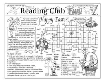 Bundle: Getting Ready for Easter Two-Page Activity Set and Crossword Puzzle