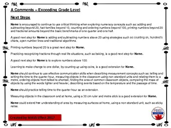 Bundle:Grade 1 Comments for  ALL THREE TERMS of Report Cards