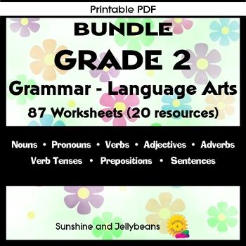 BUNDLE - Grade 2 Grammar - 82 pages - Nouns-Verbs-Adverbs-Sentences & More - CCS
