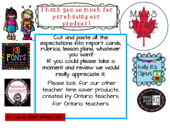 Bundle:Grade 3 Comments for  ALL THREE TERMS of Ontario Report Cards