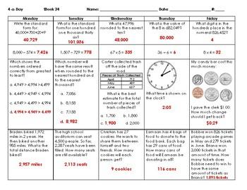 2016 SOLs: Bundle: Grade 3 - Math Spiral Review for Weeks 19-36