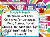 Bundle:Grade 4 Comments for  ALL THREE TERMS of Ontario Report Cards