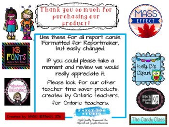 Bundle:Grade 7 Comments for  ALL THREE TERMS of Ontario Report Cards