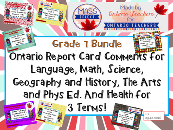 Bundle:Grade 7 Comments for  ALL THREE TERMS  Report Cards