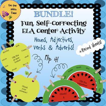 Bundle Grammar ELA Center Activity-Nouns, Adjectives, Verbs & Adverbs Task Cards