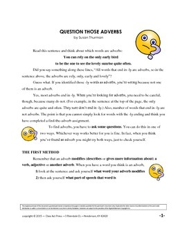 Grammar Practice with Adverbs: Bundle (10 Pages, Ans. Keys Included, $4)