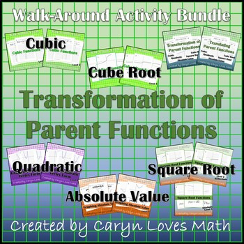 Bundle Graphing Parent Functions~Translations, Reflections~Walk Around Activity