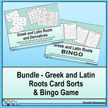 Bundle: Greek and Latin Roots Card Sorts and Bingo Game