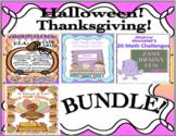 Bundle Halloween Thanksgiving Math Word problems Grammar Task cards