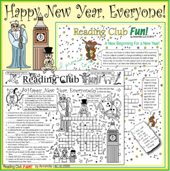 Bundle: Happy New Year Two-Page Activity Set and Crossword Puzzle