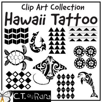 Bundle Hawaiian Clip Art Traditional Designs and Tattoos