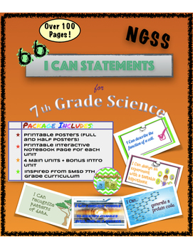 Bundle: I Can Statements for 7th Grade Science