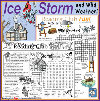 Bundle: Ice Storm and Wild Weather Two-Page Activity Set and Crossword Puzzle