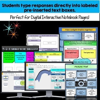 Bundle: Informational Text Graphic Organizers and Bell Ringers for Google Drive
