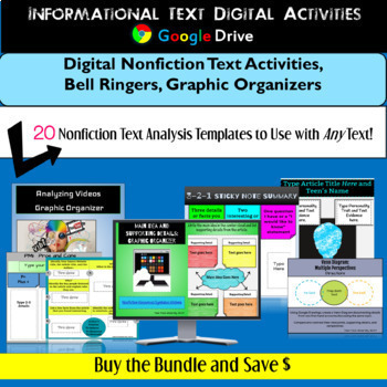Informational Text Graphic Organizers and Bell Ringers for Google Drive: Bundle