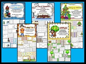 Bundle! Interactive Play Dough Math Mats & Printables