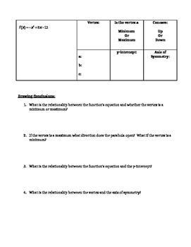 Bundle-Introduction to Quadratics Notes & Homework