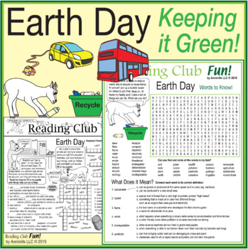 Bundle: Keeping It Green (Earth Day) Two-Page Activity Set and Word Search