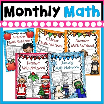 Bundle! Kindergarten Math Journals for The Whole Year (September-April)