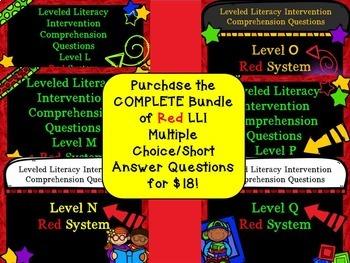 Bundle Leveled Literacy Intervention LLI Comprehension Skills L-Q RED System
