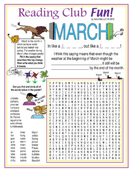 Bundle: March Winds Blow (Spring) Two-Page Set and Crossword Puzzle