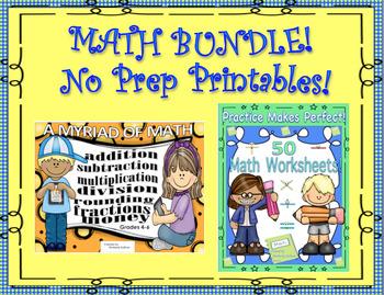 Bundle Back to School review Math 100 Printables No Prep Grades 4 - 6