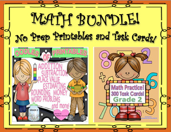 Spring Review Bundle Math Printables No Prep  300 Task Cards Common Core Grade 2