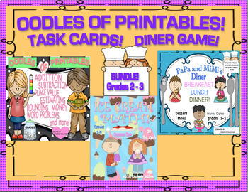 Back to School Bundle Printables Ice Cream Task Cards Money Games Grades 2-3