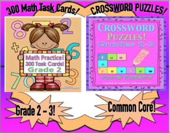 Bundle Math Task Cards and Crossword Puzzles! Common Core Grades 2 - 3