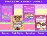 Bundle Math ELA Grade 2  Printables Puzzles   Reading