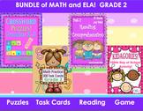 Bundle Math ELA Grade 2  Printables Puzzles   Reading