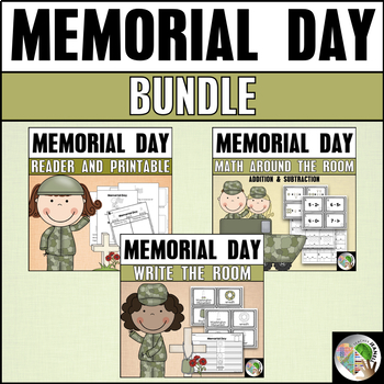 Memorial Day Bundle - Reader, Write the Room, and Math Around the Room