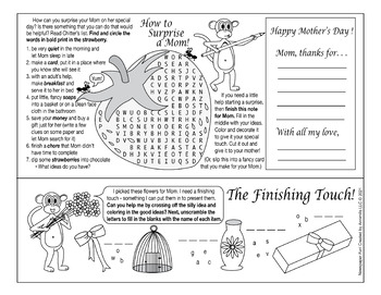 Bundle: Mom's Favorite Things & Springtime Two-Page Activity Set & Word Search