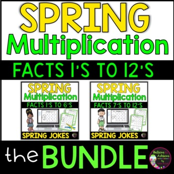 Multiplication Fact Practice 1's to 12's  with Spring Jokes-BUNDLE