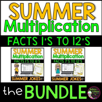 Multiplication Fact Practice 1's to 12's  with Summer Joke
