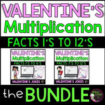 Bundle- Multiplication Fact Practice with Valentine Riddles