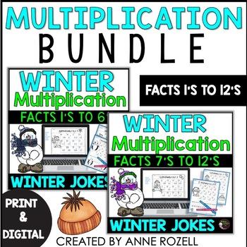 Multiplication Facts BUNDLE (1's to 12's) Winter Jokes