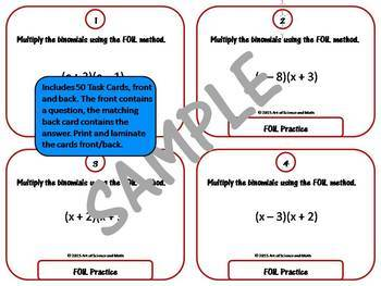 Bundle - Multiplying Binomials - FOIL Practice and Task Cards - High School Math
