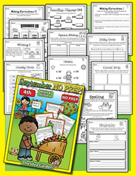 Fall Bundle - NO PREP Math & Literacy (Fourth) - (Sept/Oct/Nov)