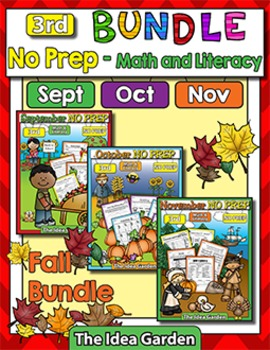 Fall Bundle - NO PREP Math & Literacy (Third) - (Sept/Oct/Nov)