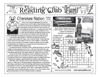Bundle: Native Americans and Cherokee (Eastern Band) Activity Page and Puzzle