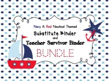 Bundle - Navy & Red Nautical Theme - Teacher Survival Binder and Sub Binder