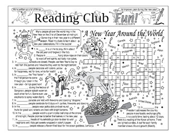 Bundle: New Years Around the World Two-Page Activity Set and Crossword Puzzle