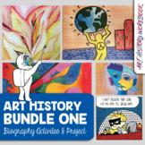 Art History Activities Bundle: Picasso, Lichtenstein, OKeeffe, Kandinsky, Harin